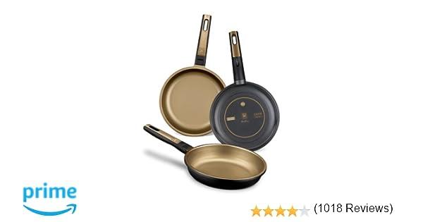 BRA Terra - Set de 3 sartenes, aluminio fundido, aptas para todo tipo de cocinas, incluido inducción y vitrocerámica, aptas para lavavajillas, ...