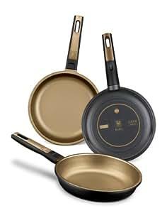 BRA Terra - Set de 3 sartenes, aluminio fundido, aptas para todo tipo de cocinas, incluido inducción, 18-22-26 cm