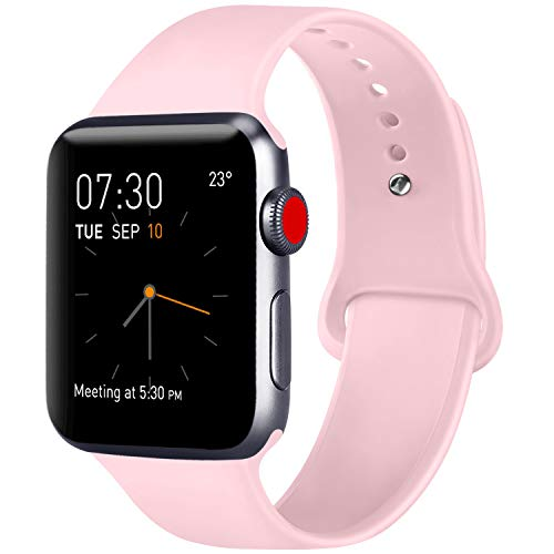 ATUP Compatible with for Apple Watch Replacement Band 38mm 40mm 42mm 44mm Women Men, Soft Silicone Band Compatible with for iWatch Series 4, 3, 2, 1 (Pink, 42mm/44mm-S/M)