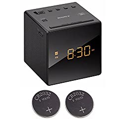 Sony ICFC1 Alarm Clock Radio, Black + 2 Back-up 2032 Lithium Batteries