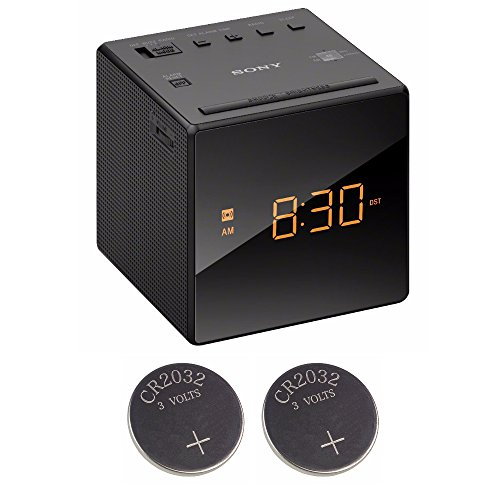 Price comparison product image Sony ICFC1 Alarm Clock Radio,  Black + 2 Back-up 2032 Lithium Batteries