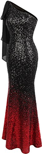 Gradient Women's Ribbon Red Asymmetric Angel Long Mermaid Dress Sequin Prom fashions Black fAW6HBI