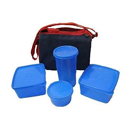 GOBUY Plastic Topware Insulated Carry Bag Lunch Box with 3 Containers, 900 ml  Multicolour   4 Pieces Lunch Boxes