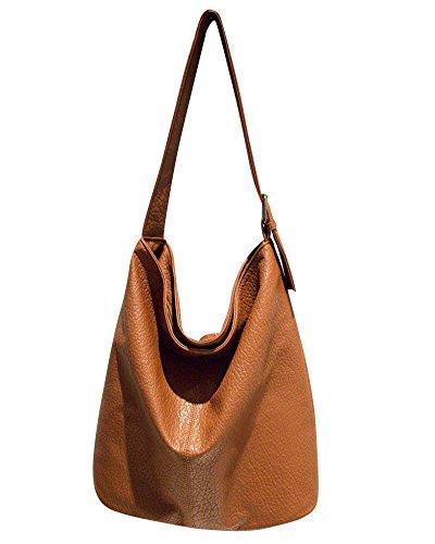 Brown Handbag Big Brown Shopper Tote Women Capacity PU Shoulder Bag Leather SWz7Ygw7q0