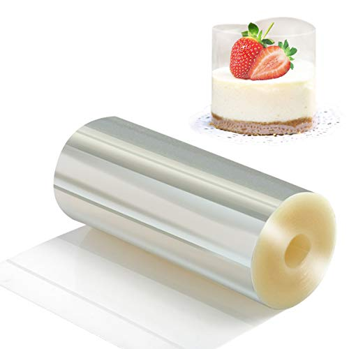 Cake Collars 4.7 x 394inch - Picowe Clear Acetate Strips, Transparent Acetate Roll, Mousse Cake Collar for Chocolate Mousse Baking, Cake Decorating ()