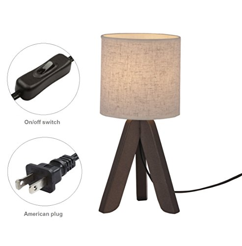 Surpars House Mini Wood Bedside Table lamp with Fabric Shade for Bedroom,Living Room,Baby Room or Office by Surpars House (Image #4)