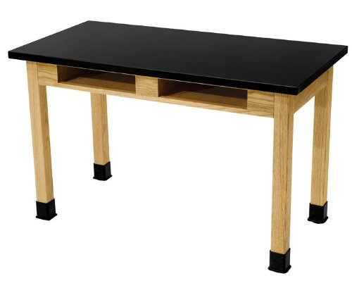 National Public Seating SLT2460 Chem-Res Top Science Lab Table, Plain Front, No Book Boxes., 30'' Height, 24'' Width, 60'' Length, Black/Oak Science Lab Table