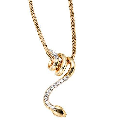 Serpent avec pendentif 14 diamants brillants en or jaune 585