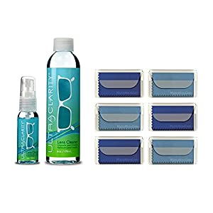 Ultra Clarity Lens Kit - 1oz Spray Bottle & 6oz Refill with 6 Microfiber Eyeglass Cleaning Cloths in Carry Case – Screen, Electronic & Glasses Cleaner - Safe for All Anti Reflective Lenses (8 Items)