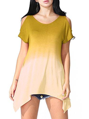 Crinkled Silk Tunic (Prime Hot JayJay Women U-Neck Cold Shoulder Short Sleeve Tie Dye Print Tunic Top,Yellow,2XL)