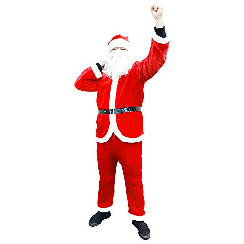 Christmas Santa Claus Costume Suit Kit Soft Flannel Santa Outfit for Adult Men 5PC (Red) -