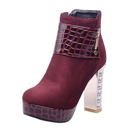 Red Wine Boots Carolbar Charm Dress Women's Block New Platform Heel Crystal Style w1Pvw