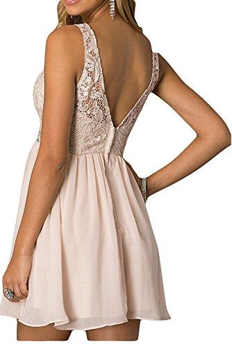 La_mia Braut Elegant Royal Blau Kurz Spitze Cocktailkleider Brautjungfernkleider Jugendweihe Kleider Festlichkleider Mini Braun 0afgV