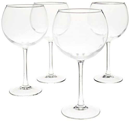 AmazonBasics N5259 Red Wine Balloon Wine Glasses - 20-Ounce, Set of 4