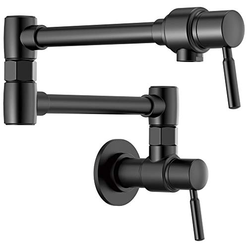 Brizo 62820LF-BL European Pot Filler Double Handle Wall Mount, Matte Black -