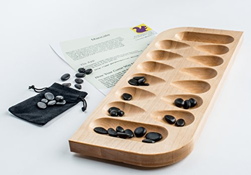 Mancala - Birch with Black River Stones by Purple Squirrel (Mancala Directions)