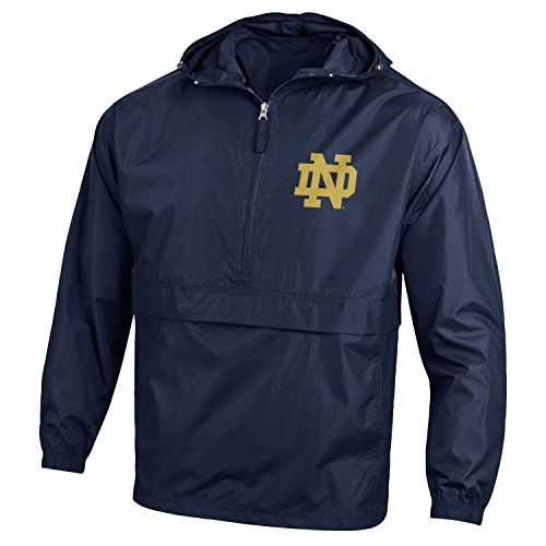 Notre Dame Irish Jacket - Champion NCAA Notre Dame Fighting Irish Men's Pack & Go Jacket, X-Large, Navy