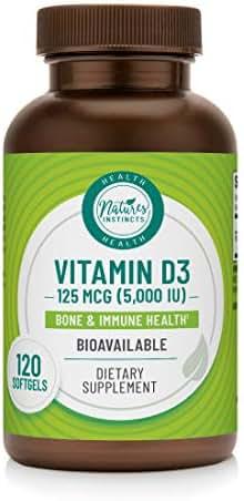 Nature's Instincts Vitamin D3 125 MCG (5000 IU) Softgels | Bone & Immune Health Support | Bioavailable Vitamin D3 Supplement | Gluten-Free, No Preservatives, Artificial Colors or Flavors, 120Count