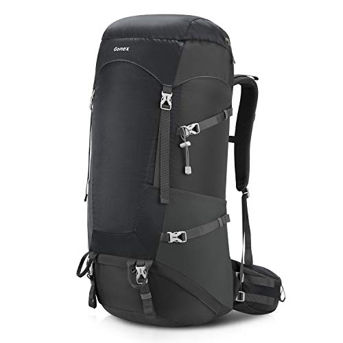 Gonex 65L/75L Hiking Internal Frame Backpack for Backpacking Camping Trekking Traveling Mountaineering with Rain Cover for Men Women Gray ()