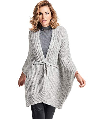 Inca Fashions Alpaca Cardigan Vest with Tie for Women | Tunic Knit Sweater - Solid (Smoke, Large/Large)