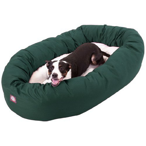 40 inch Green & Sherpa Bagel Dog Bed By Majestic Pet Products