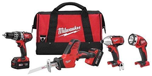 New Milwaukee 2695-24 M18 18 Volt 4 Tool Cordless Tool Set Drills & Saw Light (Milwaukee Compact)