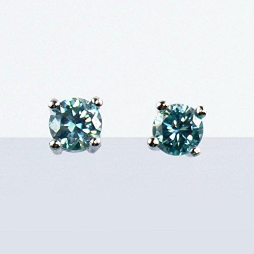 Blue Round Cut Moissanite Diamond Earrings, Studs, 0.5carat, 925 Sterling ()