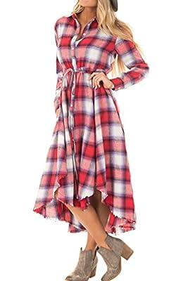 Appyculo Women Long Sleeve Grid Plaid Button Down Tunic Shirt Dresses