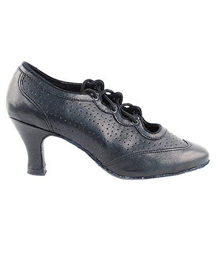 Zeer Fijne Ballroom Latin Tango Salsa Dansschoenen Voor Vrouwen 6823 - 2,5 Inch Hak + Opvouwbare Borstelbundel Zwart Geperforeerd Leer