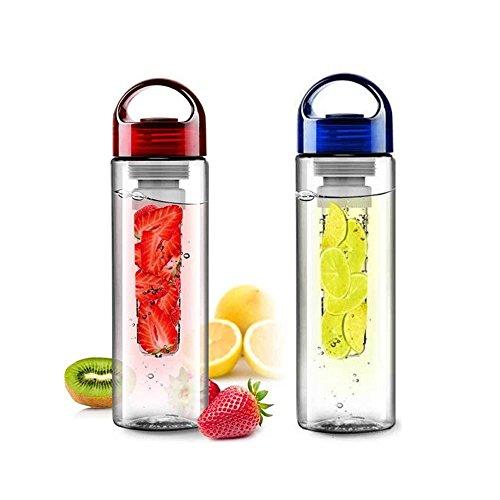 FORTAG 700ML Rote&Blaue Trinkflasche Kratzfeste Sportflasche Liebhaber-Cup für Fruchtschorlen Infuser Transparenz mit Filter für Obstzusätze Fruit Infused Water