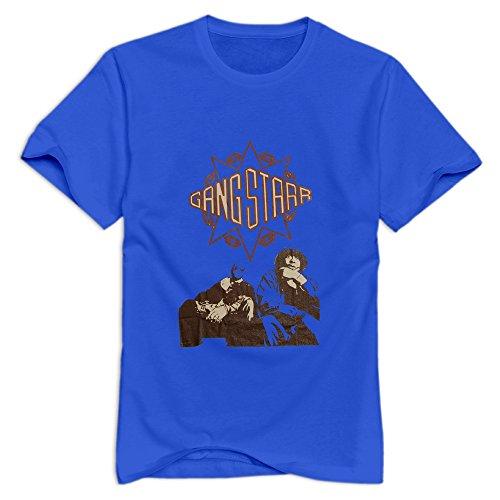 GYKU Men's Gang Starr T-Shirt RoyalBlue US Size XXL,100% Organic Cotton -