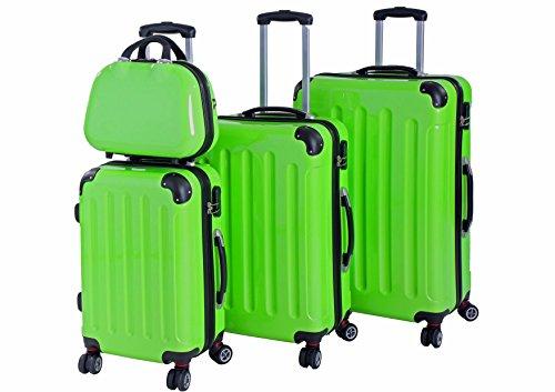 P-Collection Rio Koffer Trolley 4er Set GRÜN Handgepäck Grösse M L XL Hartschale 4 Doppelrollen