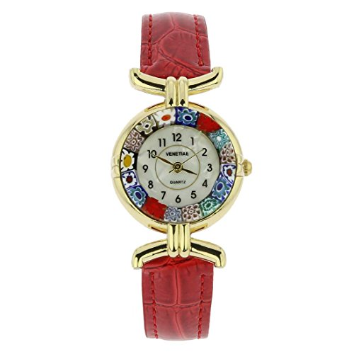 GlassOfVenice Murano Glass Millefiori Watch with Leather Band - Red