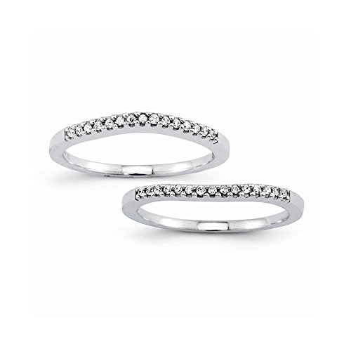 14k Set Of 2 White Gold Semi-Mounting Diamond Wedding Bands, No Center Stone Included ()
