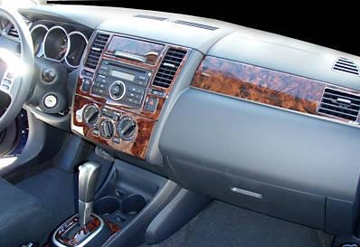 nissan versa interior wood dash trim kit set 2007 2008. Black Bedroom Furniture Sets. Home Design Ideas