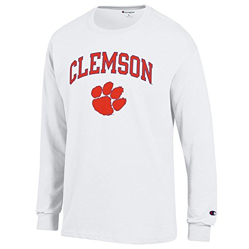 Elite Fan Shop Clemson Tigers Long Sleeve Tshirt Varsity White - XL