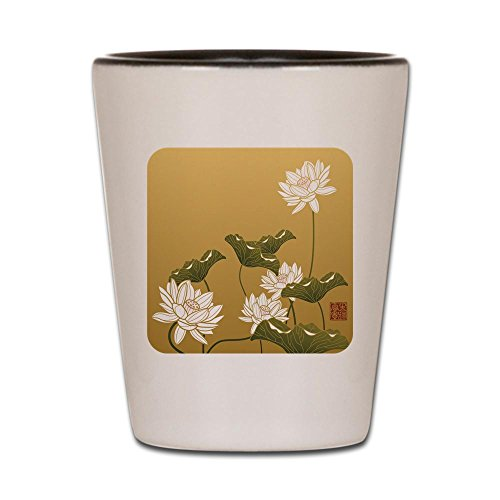 Shot Glass White and Black of Lotus Flower Chinese Flag