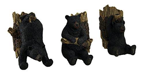 Zeckos Set of 3 Hanging Black Bear Decorative Whimsical Wall Hooks (Bear Coat Hanger)