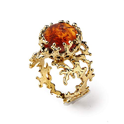 14k Yellow Gold, Natural Baltic Amber Gemstone Cabochon, Organic Statement Ring, Size 4 to 10