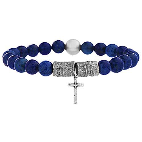 - Steve Madden Blue Lapis Beaded Stainless Steel Cross Station Stretch Bracelet for Men (Blue)