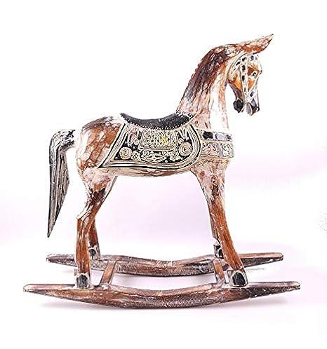 Cavallo A Dondolo Artigianale.Artigianale Cavallo A Dondolo In Legno 60 Cm Statua