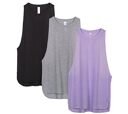 icyzone Yoga Tops Activewear Workout Clothes Sports Racerback Tank Tops For Women (L, Black/Grey/Lavender)