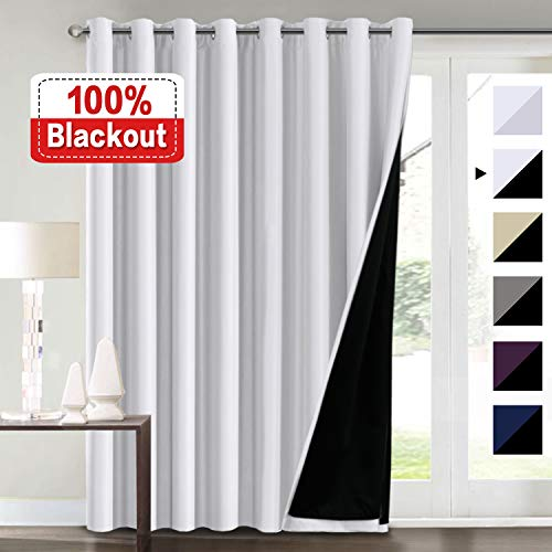 Flamingo P Extra Wide Blackout Curtains White 100 x 84 for Bedroom, 100% Blackout Double Layer Window Panels Thermal Insulated Energy Saving Lined Curtains for Patio Door/Living Room, Grommet Top (Top Doors Grommet Curtains For Patio)