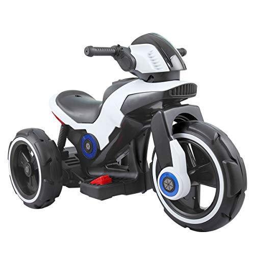 Sandinrayli White Kids Ride On Motorcycle Trike 6V Toy Battery Powered Electric 3 Wheels Bicycle