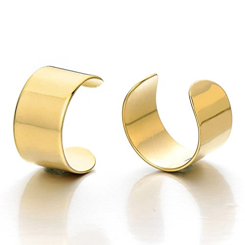 Sobly Jewelry 2pcs Gold Color Stainless Steel Ear Cuff Ear Clip Non-Piercing Clip On Earrings for Men and Women