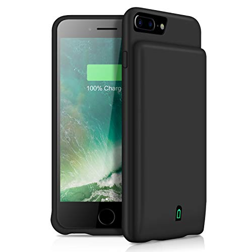 YISHDA 7000mAh Battery Case for iPhone 7 Plus/8 Plus/6 Plus/6s Plus Portable Charging Case Rechargeable Extended Battery Backup Power Bank Charger Case Support Headphone - Black [18 Month Warranty]