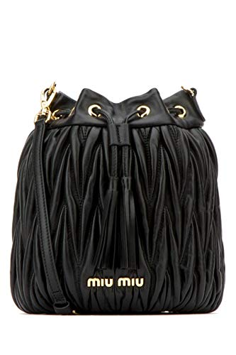 Miu Miu Women's 5Be014n88f0002 Black Leather Shoulder Bag