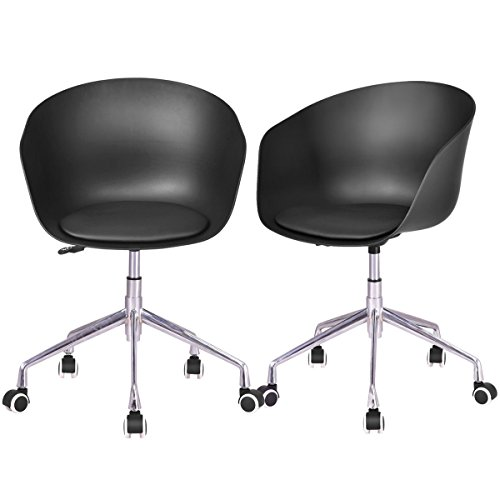 Giantex Set of 2 Task Chair Without Arms Upholstered Swivel Height Adjustable Rolling Home Office Conference Chair (Black)