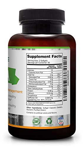 CLA | 2000 mg | 180 Softgels | High Potency Conjugated Linoleic Acid | High Dosage for Weight Management