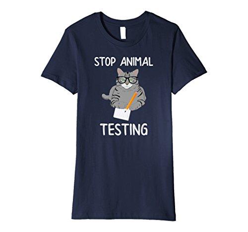 Womens Premium Stop Animal Testing Cat Taking Test TShirt Large Navy